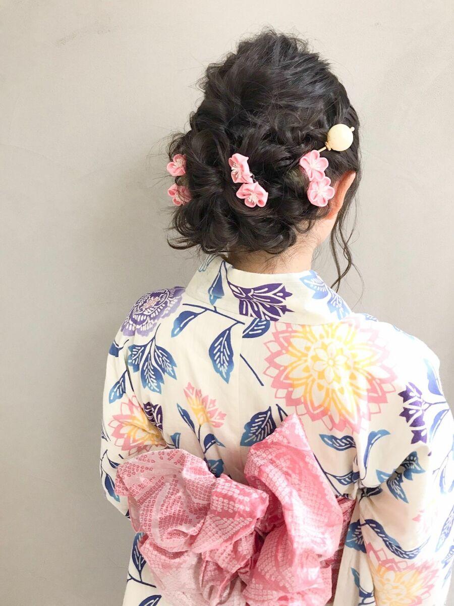 ゆるふわアップ 浴衣 編み込み 3000円