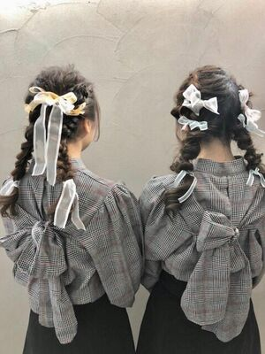 双子アレンジ シニヨン風and編み込み ヘアセット3000円