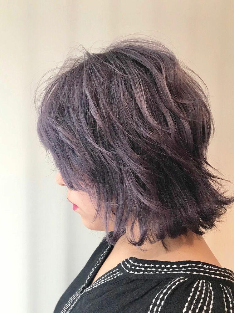 purple color 外ハネ くびれボブ Wカラー8500円