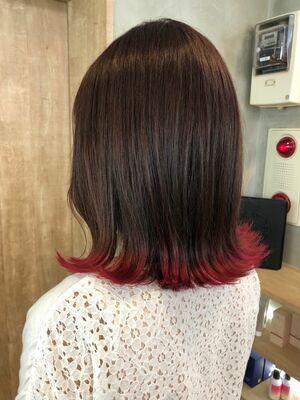 ボブ×ピンクの裾カラー