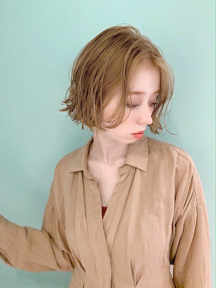 ボブ×無造作×ミルクティーベージュ2020年春スタイル『ネモトヨシキ』表参道stylist