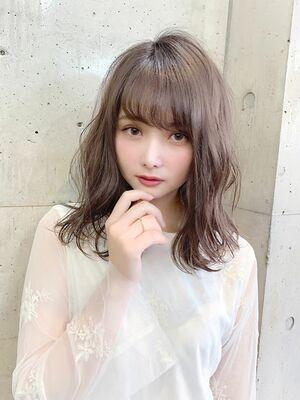 シースルーバング×フェミニン×シアーベージュ2020年春スタイル『ネモトヨシキ』表参道stylist