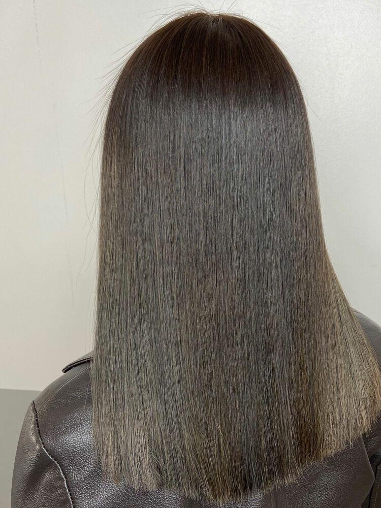 美髪切りっぱなしセミロングx khaki beige