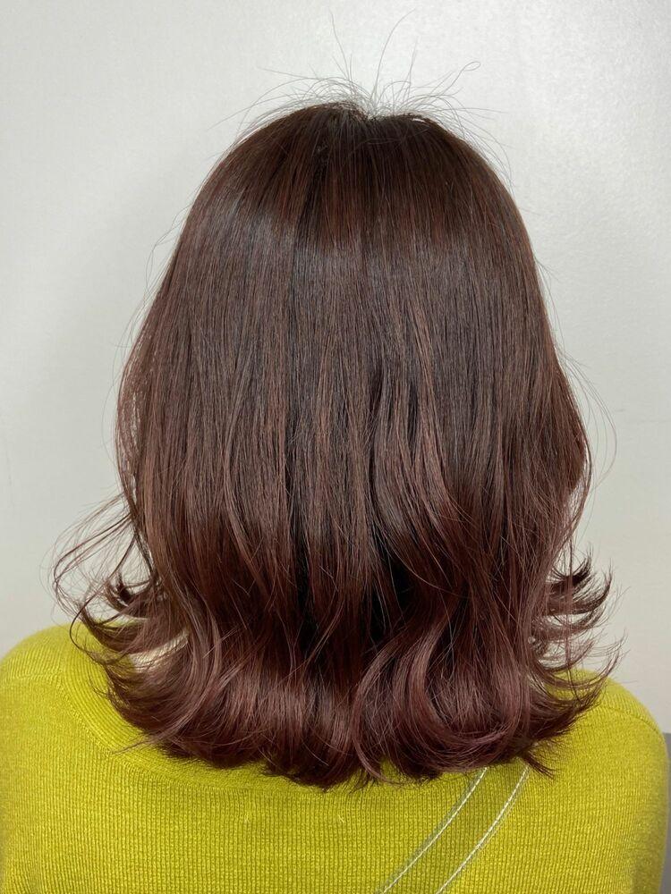 外ハネミディアムx pink brown