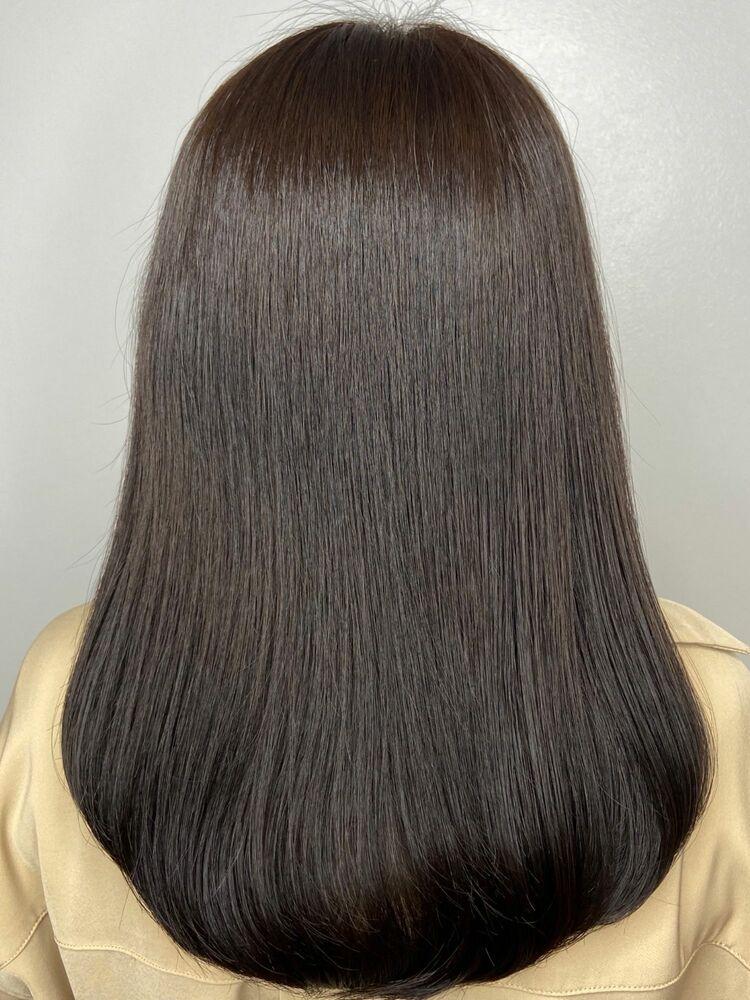 美髪ミディアムx dark brown