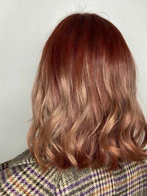 ウェーブ巻きグラデーションカラーx pink beige
