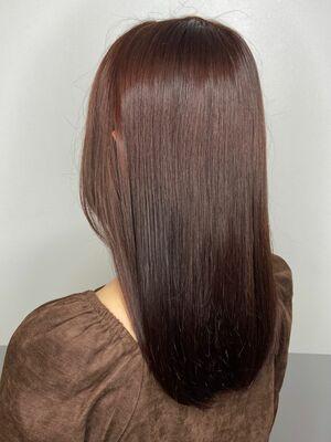 まとまるロングx red brown