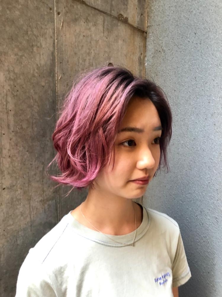 ピンクバイオレット × ボブ