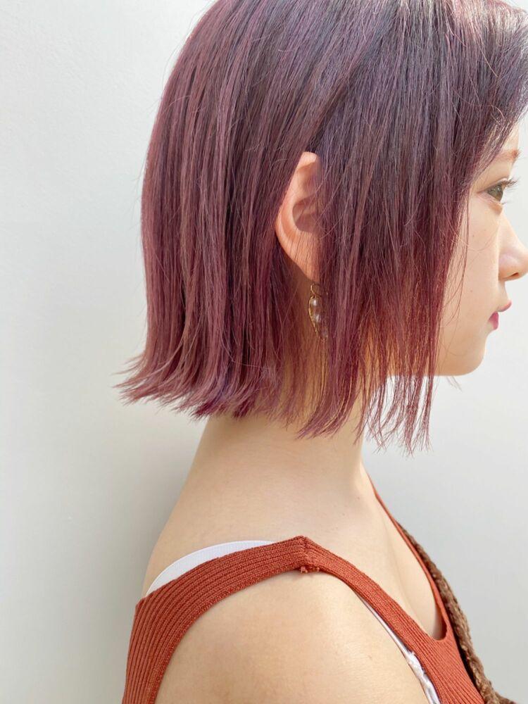 ☆20代30代にオススメ☆切りっぱなしボブ × ベリーピンクカラー