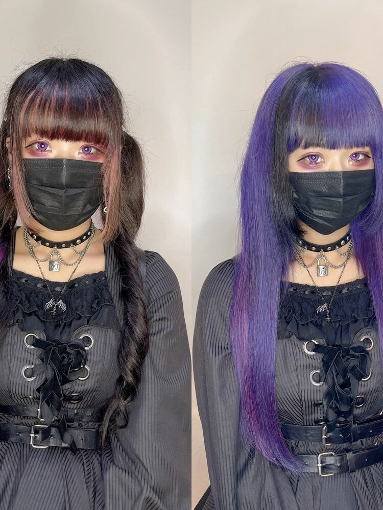 紫x黒 エクステ ゴシックヘアスタイル
