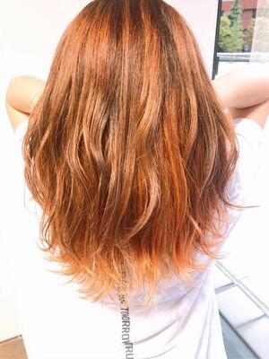 バレイヤージュとハイライトで作る オレンジ×ピンク×イエローカラー