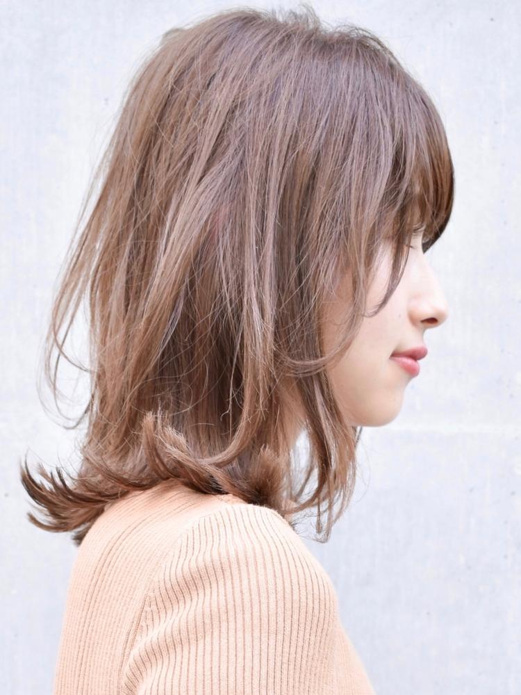 大人かわいい小顔美髪セミディブランジュカラー