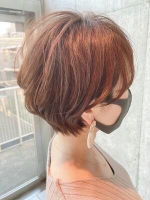 40代髪型☆似合わせショートボブ☆無造作耳かけ大人ショートボブ☆jeanaharbor清水