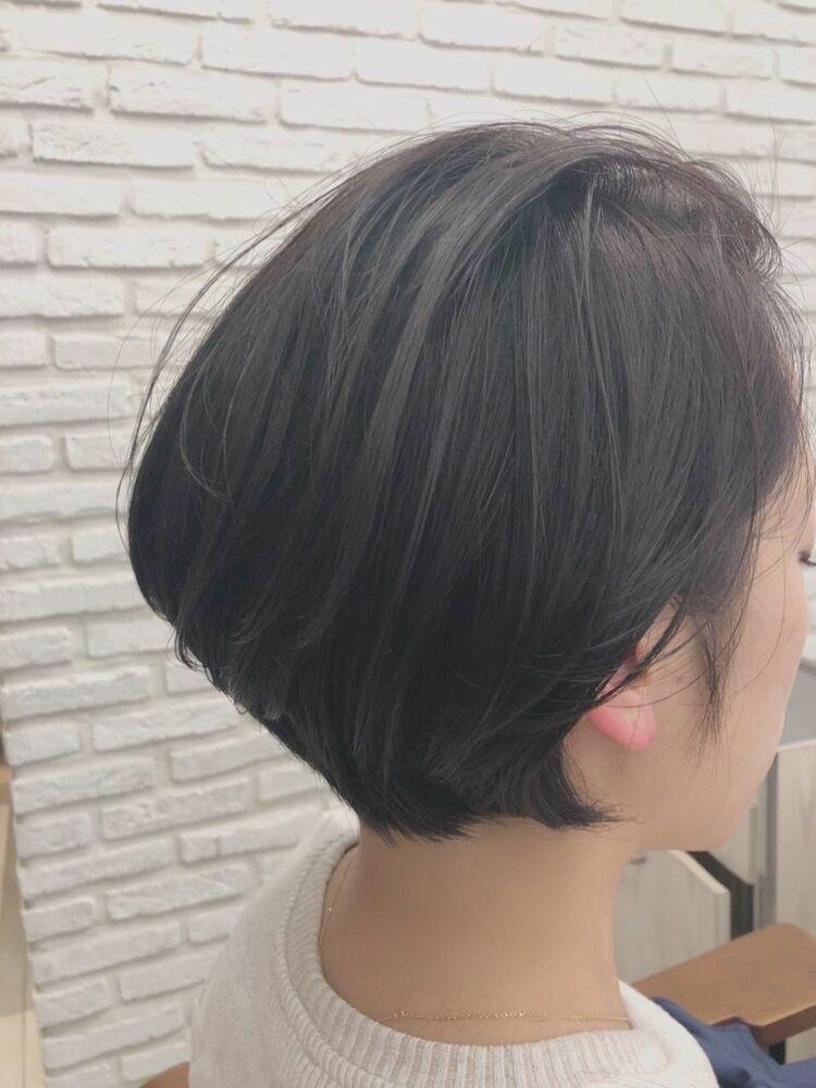 40代髪型☆耳かけ大人ショートボブ☆