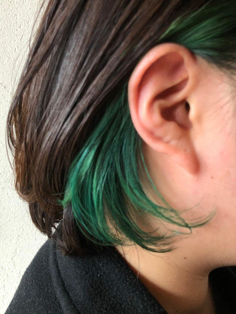 インナーカラー x グリーン
