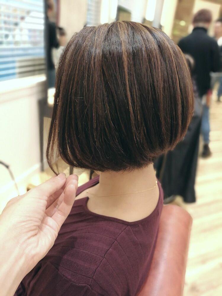 切りっぱなしボブ・ハイライトカラー・浦和の美容荒巻充のショートヘア、ショートカット