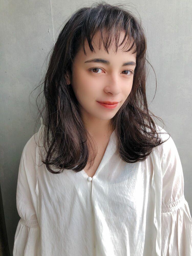 ♡シースルーバング♡無造作ウェーブ♡黒髪♡@yumikomatsumori