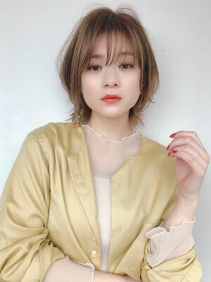 ♡ショート♡外ハネ♡ひし形♡前髪♡ミルクティーカラー♡ @yumikomatsumori