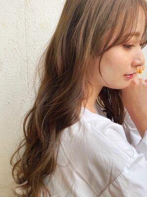 ロングスタイル☆ウザバング☆あざと前髪☆シアーカラー