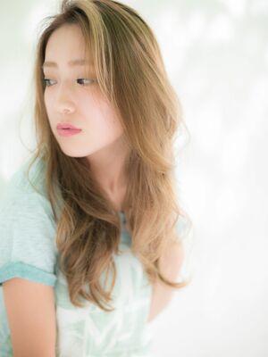 ☆髪質改善×ハイトーンベージュ×ロング×ゆるウェーブ×かきあげバング×ダブルカラー☆