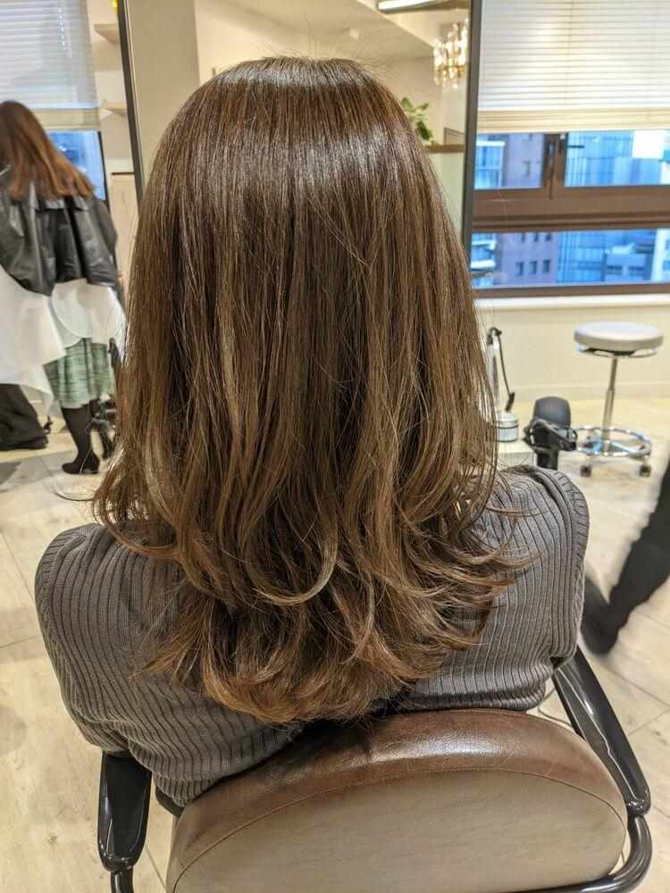 髪質改善×ナチュラルグラデーション×大人レイヤー×巻髪×セレブウェーブ