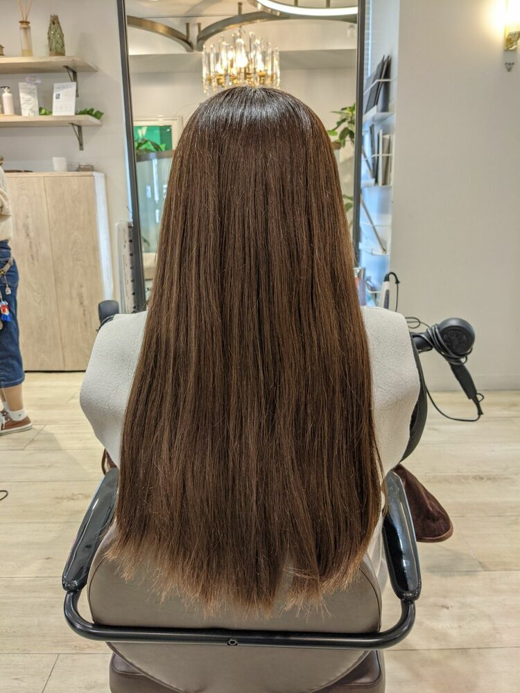 髪質改善酸熱トリートメントBeforeAfterプレミアムイルミナカラーでうるツヤ髪に
