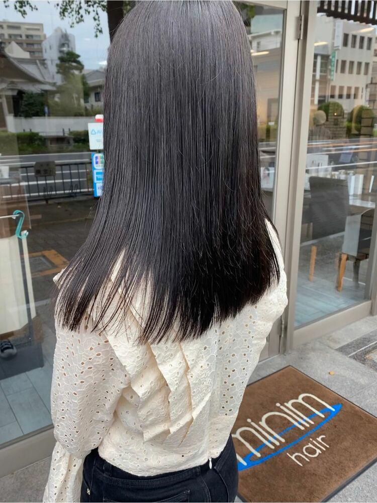 黒髪ぷつんとロング
