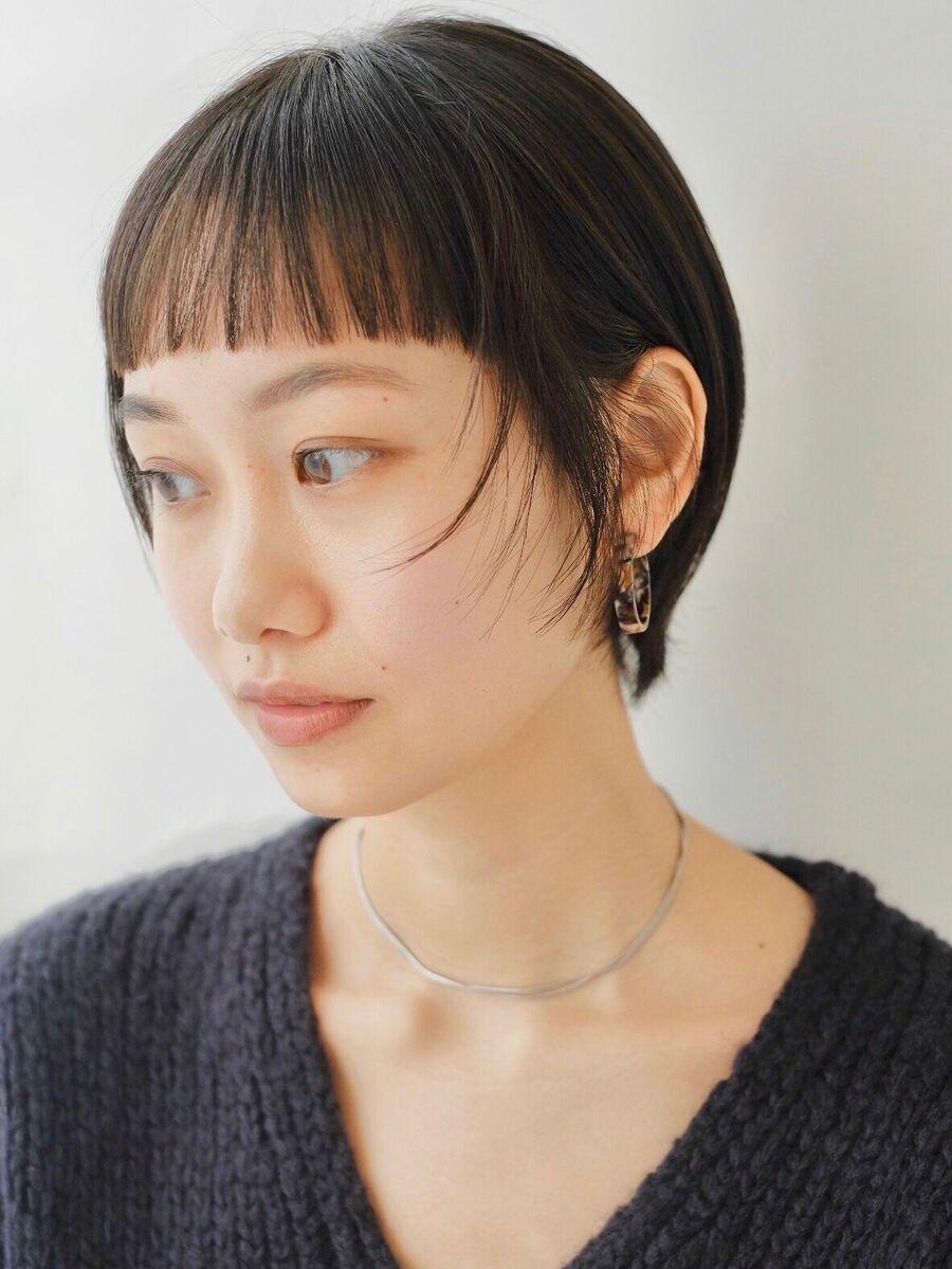ショートバング/ミニマムショート/暗髪