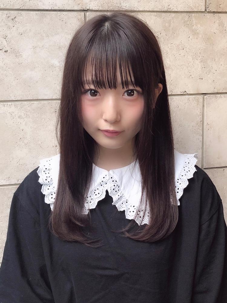 表参道美容室アフロート可愛い前髪ぱっつんシースルーバングワンカールストレートヘア