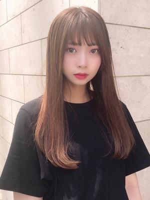 表参道美容室アフロート束感可愛い前髪シースルーバングAラインセミロング