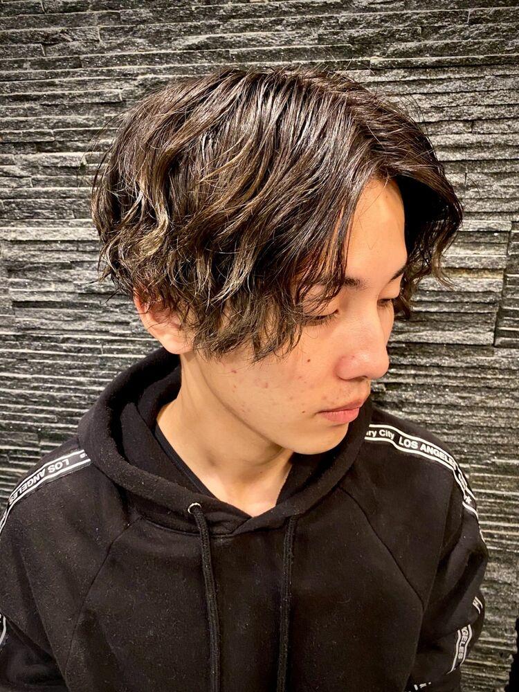 韓国風センターパート×スパイラルパーマ/表参道/理容室/バーバースタイル/BTS
