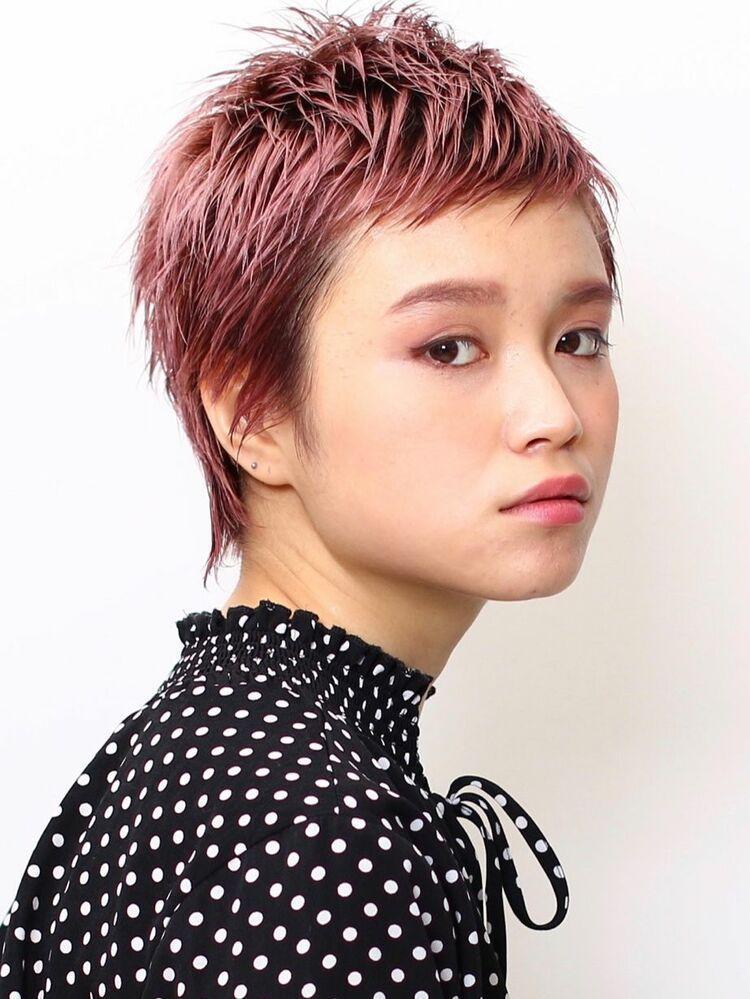 #2020春夏 #ピンクヘアー #ベリーショート #タイトなショート #モードなヘアスタイル