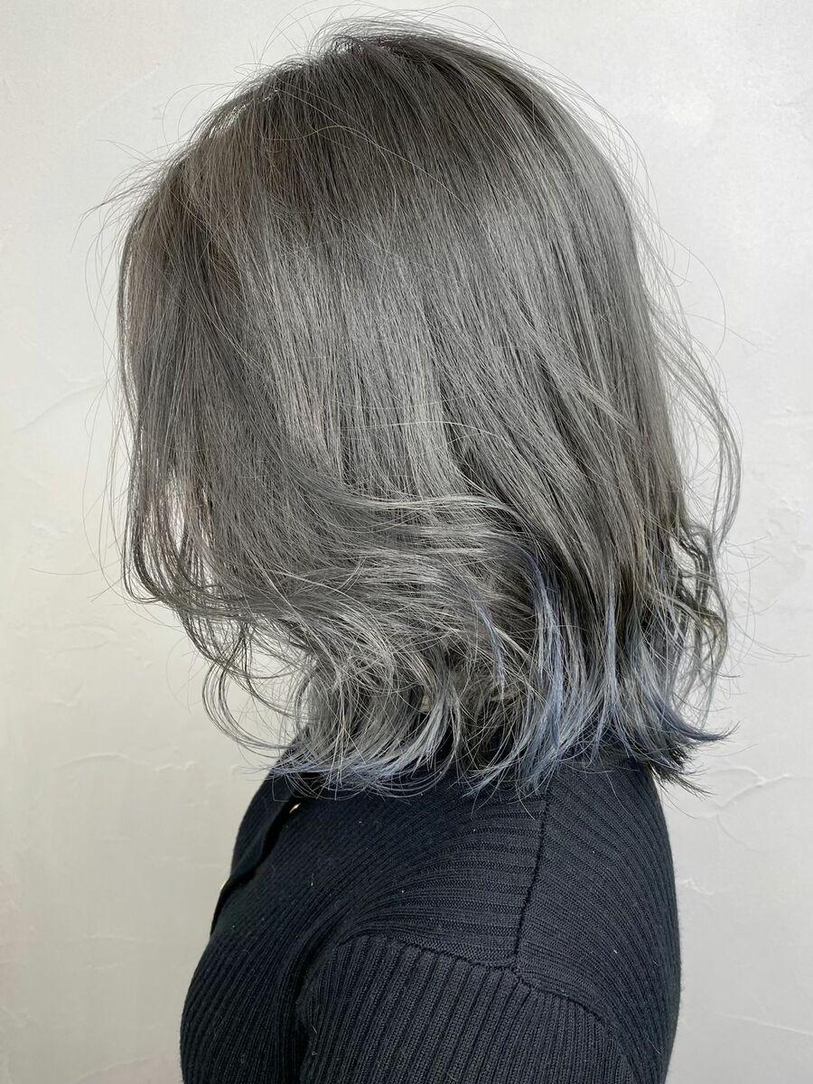 グレーシルバー×裾カラーブルー