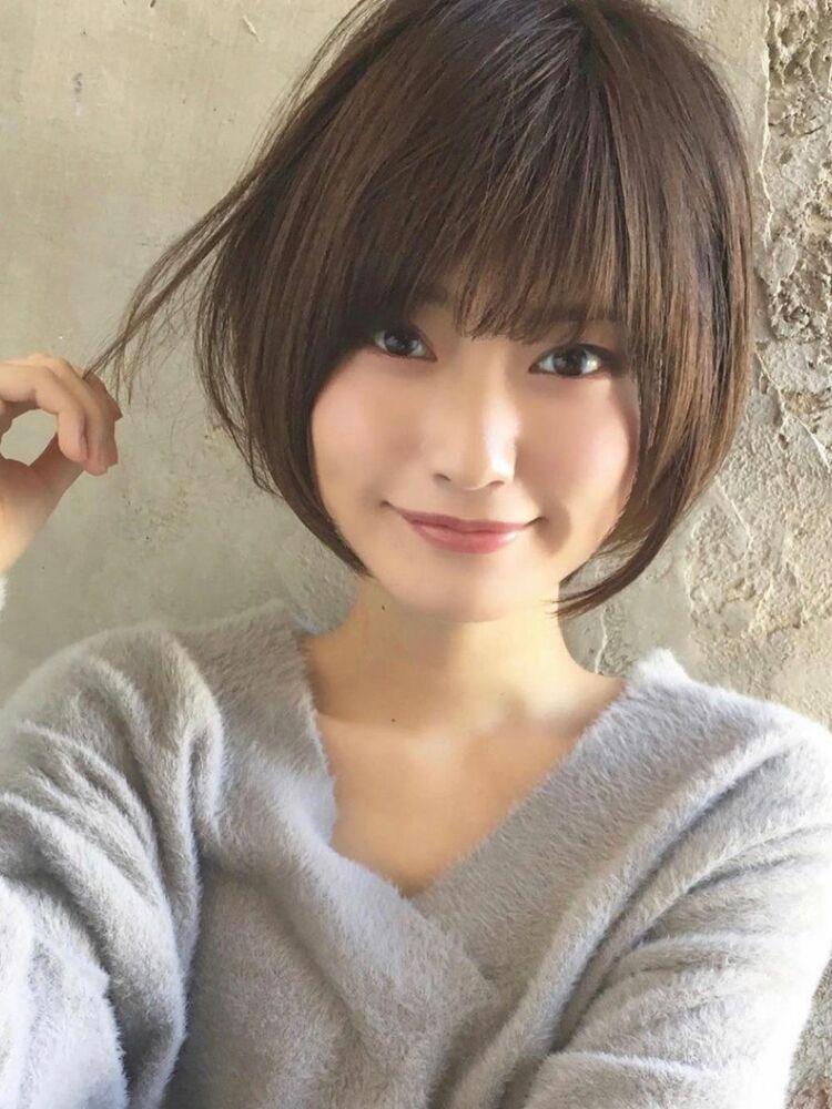 ●大人かわいい小顔ショートボブショートヘア20代30代40代新宿毛先の「ワンカールパーマで丸みを」