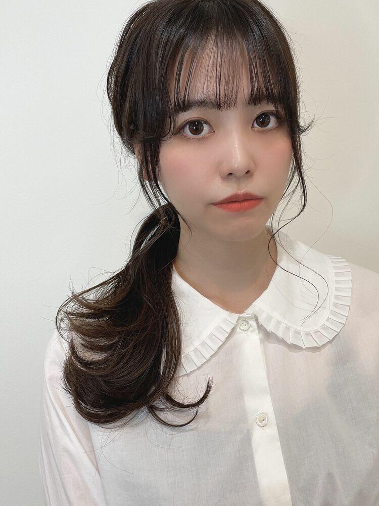 韓国レイヤー🇰🇷顔まわりレイヤーで小顔に♡オリーブグレージュ