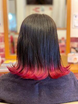 裾カラー☆ピンクレッド