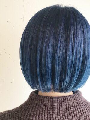 ブルー×ワンレンボブ