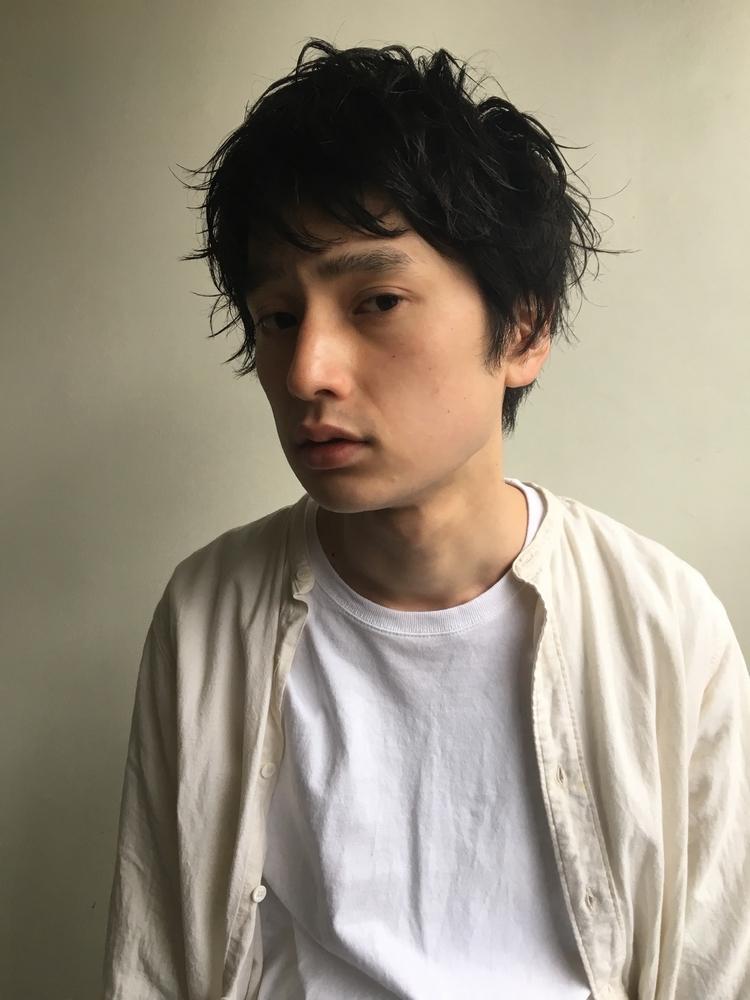 黒髪ニュアンスパーマ