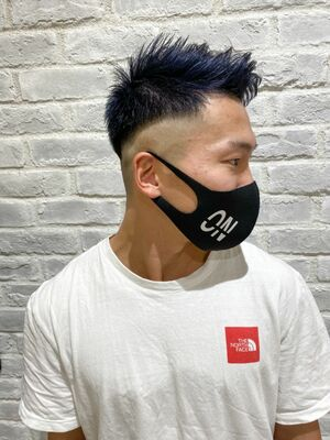MEN'S HAIR フェード×ブリーチ×ネイビーブルー