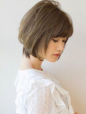 30代40代50代髪型ひし形ふんわりショートボブ