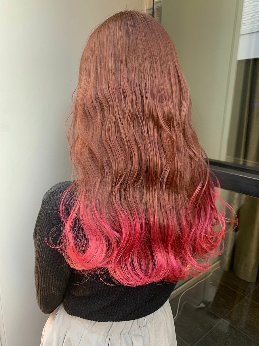 裾カラーピンク