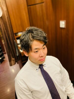 無造作パーマ 田町/品川/大崎/三田/駅近/ヒロ銀座/床屋/理容室/パーマ/メンズカット