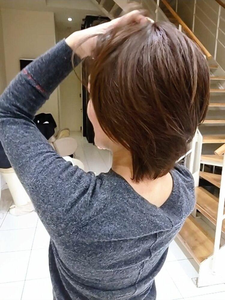 マッシュレイヤー☆+透明感カラー+ハイライトで白髪染め
