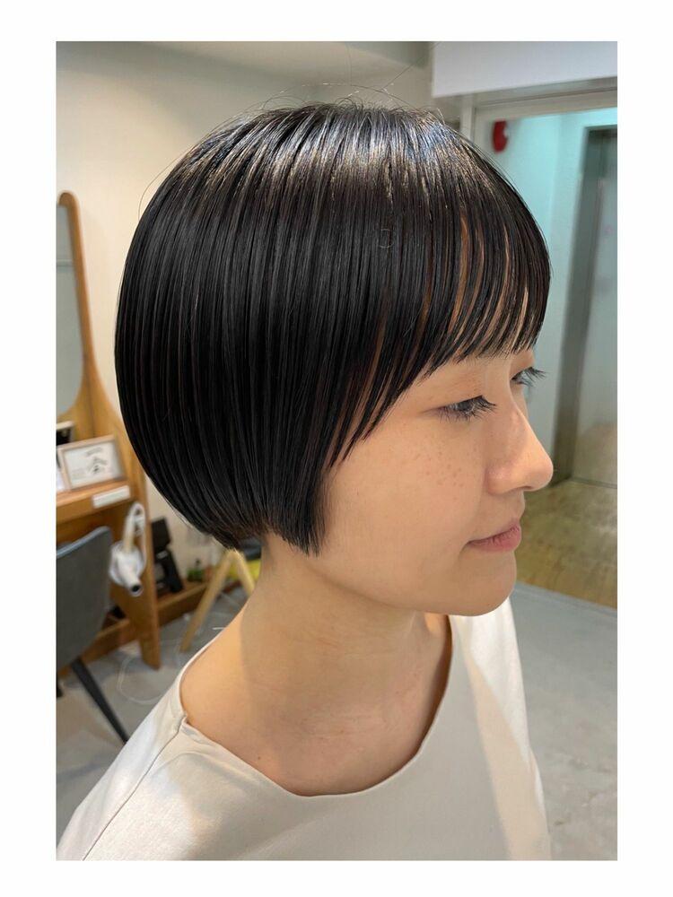 シンプルモードな黒髪ショートヘア◎エイジングケア◎完全予約制のマンツーマン対応型サロン