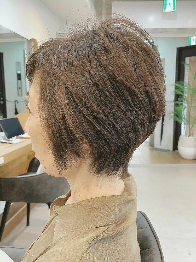 ミセスのショートボブ/明るい白髪染め(オーガニックカラー選択可能)◎完全予約制、プライベートサロン◎