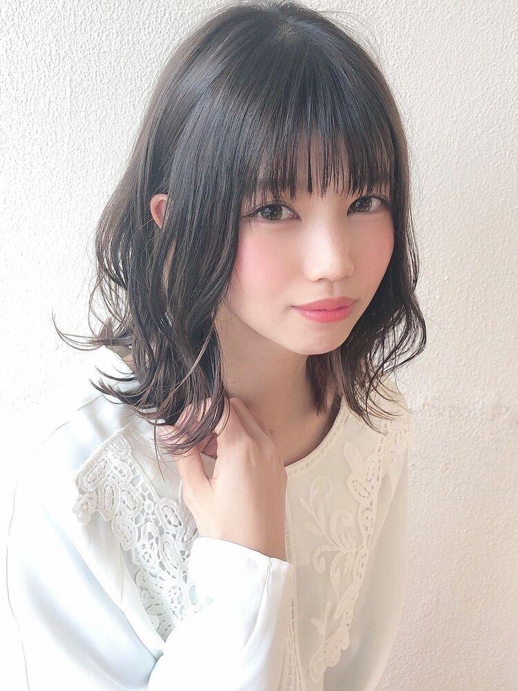 [アフロート]外ハネベースミディアムスタイル☆アッシュグレー