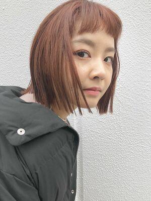 『assort tokyo』切りっぱなしボブとオレンジベージュ 表参道駅15分外苑前駅3分