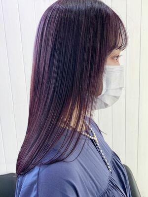 ダブルカラー パープル ケアブリーチ 髪質改善