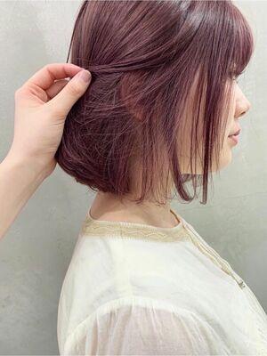 ミニボブ ダブルカラー ピンク ケアブリーチ 髪質改善