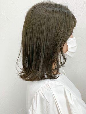 ロブ イルミナカラー 髪質改善 オリーブベージュ